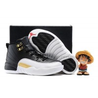 Kids Air Jordan 12 White Black Gold Red