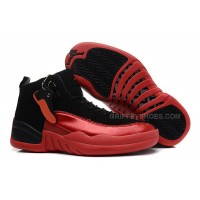 Womens Air Jordan 12 GS Black and Red For Girls Cheap Sale