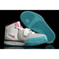 Nike Air Yeezy 2 Kids Shoes Wolf Grey/Think Pink/Chlorine Blue KNyNR
